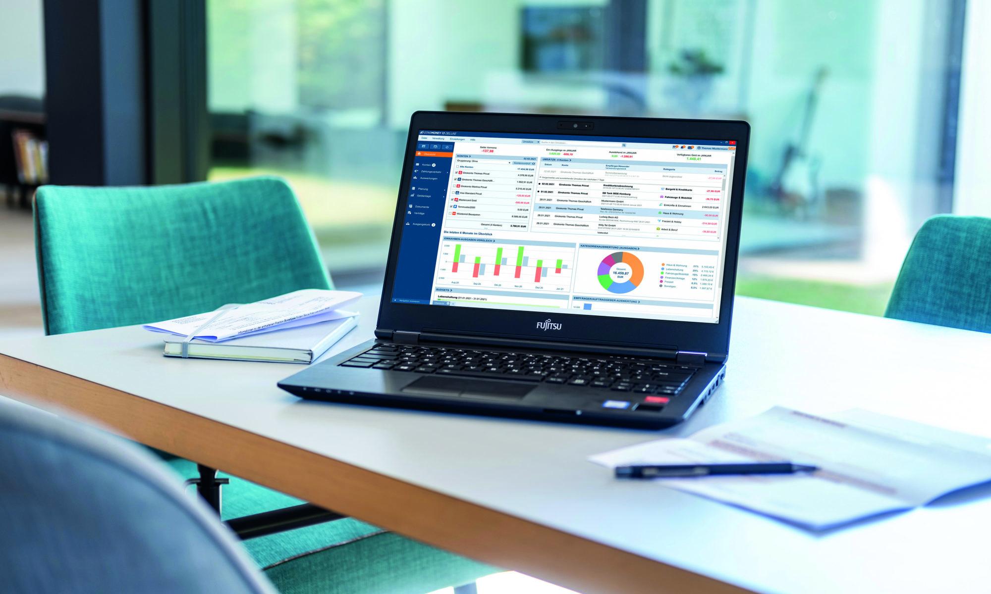 Ausgaben auswerten, Budgets planen, Rechnungen bezahlen: Einfach und schnell mit der Finanzsoftware StarMoney Deluxe.