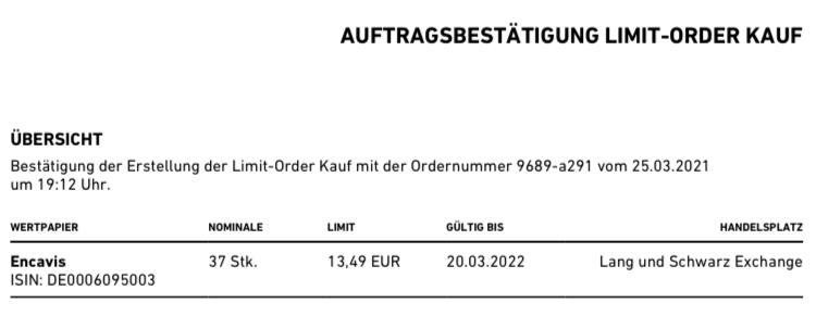 Encavis Limit-Order
