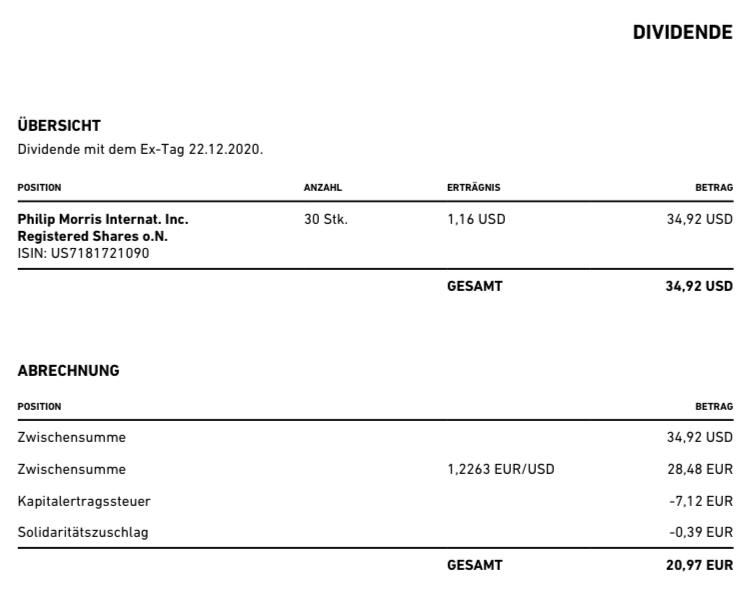 Philip Morris Dividende 1
