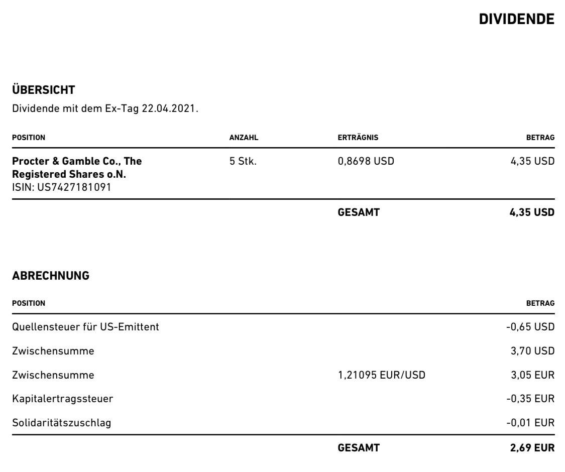 Procter & Gamble Dividende Mai 2021