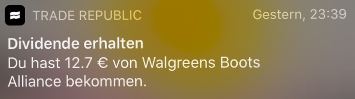 Push-Mitteilung Walgreens Boots Alliance Dividende