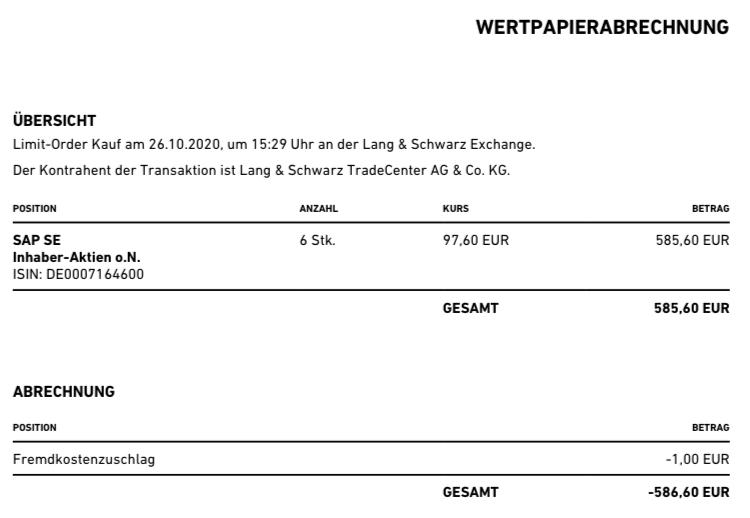Depot November 2020: SAP Kauf
