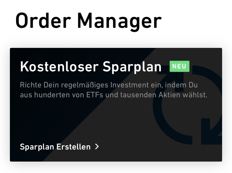 Trade Republic Sparplan: Order Manager